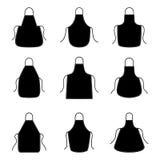 Grupo de silhuetas dos aventais, ilustração do vetor Imagem de Stock Royalty Free