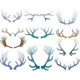 Grupo de silhuetas dos chifres dos cervos dos chifres Foto de Stock