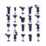 Grupo de silhuetas dos cocktail em um fundo branco Imagens de Stock Royalty Free