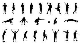 Grupo de silhuetas dos povos envolvidos nos esportes. ilustração royalty free