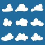Grupo de silhuetas estilizados da nuvem Ilustração ilustração do vetor