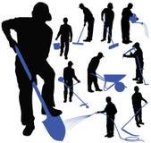 Grupo de silhuetas pretas dos homens que trabalham no jardim ilustração stock