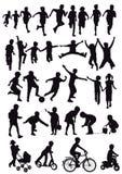 Grupo de siluetas de los niños Imagen de archivo libre de regalías