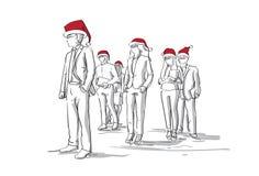 Grupo de siluetas del bosquejo de los hombres de negocios que llevan a Santa Hats roja, empresarios Año Nuevo y días de fiesta de ilustración del vector
