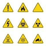 Grupo de sinais de aviso do triângulo Ícone de advertência do roadsign sinal da Perigo-aviso-atenção Fundo amarelo ilustração stock