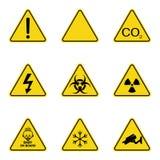 Grupo de sinais de aviso do triângulo Ícone de advertência do roadsign sinal da Perigo-aviso-atenção Fundo amarelo ilustração royalty free