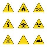 Grupo de sinais de aviso do triângulo Ícone de advertência do roadsign sinal da Perigo-aviso-atenção Fundo amarelo ilustração do vetor