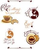 Grupo de sinais com copos, croissant, cara da menina, elementos para o menu Fotografia de Stock