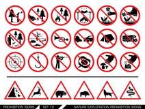 Grupo de sinais da proibição da exploração da natureza Fotografia de Stock
