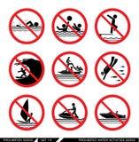 Grupo de sinais da proibição para atividades de água Fotos de Stock