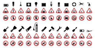 Grupo de sinais da proibição. Ilustração do vetor Imagem de Stock