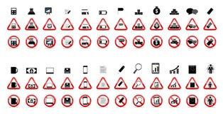 Grupo de sinais da proibição. Ilustração do vetor Fotos de Stock
