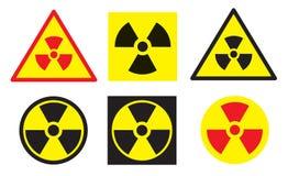 Grupo de sinais da radiação Fotografia de Stock Royalty Free