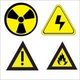 Grupo de sinais de advertência do perigo Imagens de Stock