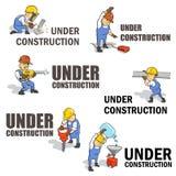 Grupo de sinais de aviso sob Construction ilustração stock