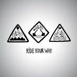 Grupo de sinais de estrada engraçados da bicicleta Fotos de Stock