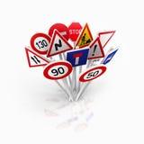Grupo de sinais de estrada europeus ilustração stock