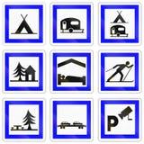 Grupo de sinais de estrada franceses da informação ilustração stock
