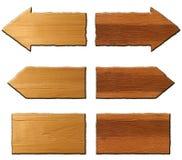 Grupo de sinais de madeira no fundo branco Fotografia de Stock