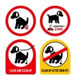 Grupo de sinais deixando cair do cão ilustração royalty free