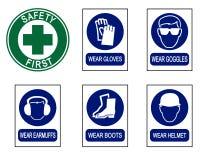 Grupo de sinais do equipamento de segurança Fotografia de Stock