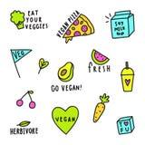 Grupo de sinais do vegetariano ilustração royalty free