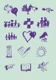 Grupo de sinais do vetor. Emblemas universais Imagem de Stock Royalty Free