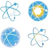 Grupo de sinais dos logotipos da molécula do átomo Ilustração do Vetor