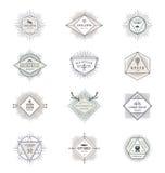 Grupo de sinais e de emblemas com símbolos do moderno Fotos de Stock