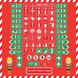 Grupo de sinais e de etiquetas de proteção contra incêndios Fotografia de Stock