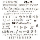 Grupo de sinais matemáticos e de símbolos Fotografia de Stock Royalty Free