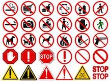 Grupo de sinais para atividades proibidas diferentes Imagem de Stock
