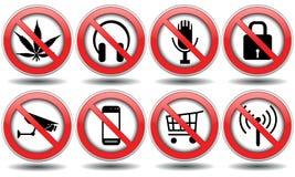 Grupo de sinais proibidos, vetor Fotos de Stock