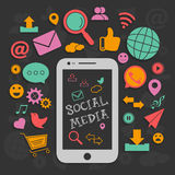 Grupo de sinal e de símbolos sociais dos meios Imagens de Stock Royalty Free