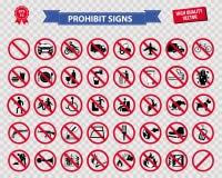 Grupo de sinal proibido Fotografia de Stock
