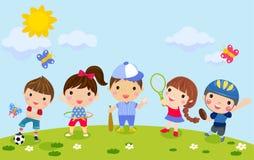 Grupo de sistema del deporte de los niños ilustración del vector