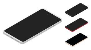 Grupo de smartphones isométricos Imagens de Stock Royalty Free