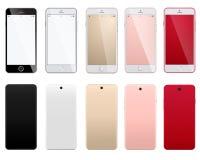 Grupo de smartphones modernos em um fundo branco com parte dianteira e versos Imagens de Stock Royalty Free