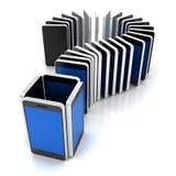 Grupo de smartphones que forman un signo de interrogación Imagen de archivo libre de regalías