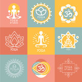 Grupo de símbolos da ioga e da meditação Imagem de Stock