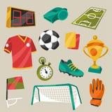 Grupo de símbolos do futebol do futebol dos esportes Fotografia de Stock Royalty Free