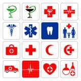 Grupo de símbolos que denotam a medicina Imagem de Stock