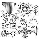 Grupo de símbolos tirado mão do nativo americano do vetor da garatuja Fotografia de Stock