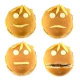 Grupo de smiley e de fritadas do fast food Foto de Stock Royalty Free