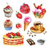 Grupo de sobremesas da aquarela, chocolate, café, ilustração do queque Imagem de Stock Royalty Free
