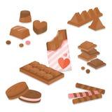 Grupo de sobremesas e de doces coloridos do chocolate Ilustração do vetor Imagem de Stock Royalty Free