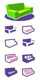 Grupo de sofá dos ícones Fotos de Stock