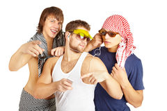 Grupo de sorriso feliz na roupa da praia Foto de Stock