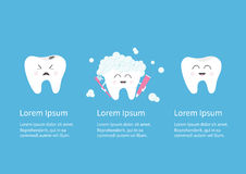 Grupo de sorriso saudável do ícone do dente Dentes doentes maus de grito com cáries Escova de dentes com espuma da bolha do dentí Foto de Stock Royalty Free