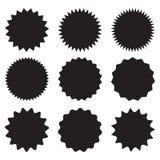 Grupo de starburst do vetor, crachás do sunburst Ícones pretos no fundo branco Etiquetas lisas simples do vintage do estilo, etiq ilustração stock